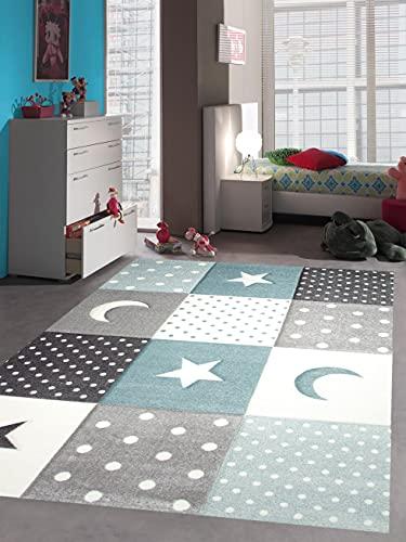 Teppich-Traum Kinderzimmer Teppich Spiel & Baby Teppich Punkte Sterne Mond Design in Blau Türkis Grau Creme Größe 80x150 cm