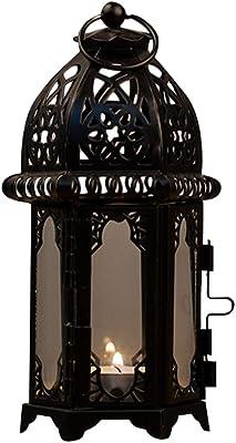 Linternas de estilo marroquí juego de dos Hierro Vidrio Claro LED Luz de Té sostenedores de vela