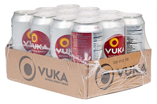 Vuka-Vuka Zero Calorie Workout Berry Lemonade Sparkling Natural Energy Drink, 16oz, 12 Pack