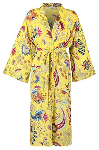 100% Cotton Dressing Gowns for Women & Men, Lightweight Summer Kimono Bathrobes, 100% Indian Cotton, Organically Grown, Ethically Made, Hand Printed. Fits UK 10-18 (Yellow Kimono Print)