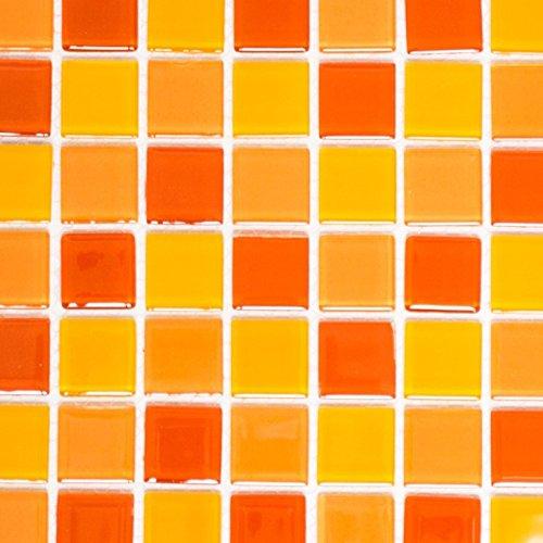 tessere di mosaico Crystal Trasparente Vetro Mosaico Mix Giallo/Arancione/Rosso