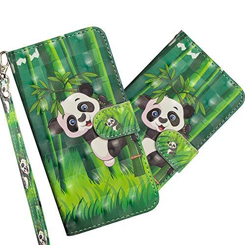 COTDINFOR Motorola Moto E5 Play Go Hülle 3D-Effekt Painted cool Schutzhülle Flip Bookcase Handy Tasche Schale mit Magnet Standfunktion Etui für Motorola Moto E5 Play Go Climbing Bamboo Panda YX.