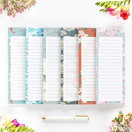 """Peach Tree Shade Magnetic Notepads, 6-Pack 60 Sheets Per Pad 3.5"""" x 9"""", for Fridge, Kitchen, Shopping, Grocery, To-Do List, Memo, Reminder, Note, Book, Stationery, (OrigamiNotes One-Thousand Waves)"""