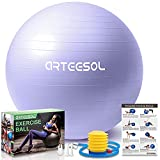 arteesol Balón de Ejercicio Anti-explosión, 45cm/55cm/65cm/75cm/85cm Fitness Yoga Ball Estabilizador de balón de Equilibrio Resistente con Bomba rápida para Core Force (Violeta Claro, 65cm)