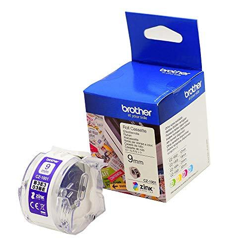Brother CZ-1001 Farbetikettenrolle, 9 mm breit, 5 m lang für Etikettendrucker VC-500W