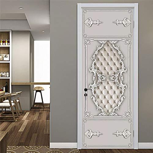 Deursticker 3D zelfklevend Europees zacht rollenpatroon van de pleister PVC zelfklevende waterdichte afneembare Art Decals voor decoratie wandafbeelding 90x210cm