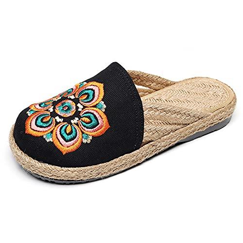 QIMITE Pantofole - Creative Pastoral Retro Style Pantofole Etniche Ricamate Donne Multicolore Sandali Baotou Morbidi E Confortevoli, Nero,39