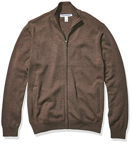 Amazon Essentials Men's Full-Zip Cotton Sweater, Brown Heather, Large