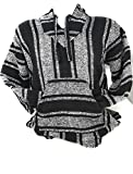 Authentic Mexican Baja Hoodie Sweater Pullover by Mexitems (X- Large) Black/White