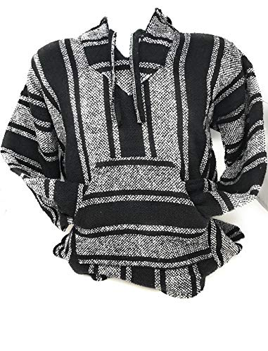 Mexitems Authentic Mexican Baja Hoodie Sweater Pullover (X- Large) Black/White