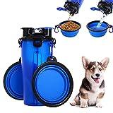Kuoser Dog Water Bottle Tazones para Mascotas para Viajar, Contenedor de Comida para Mascotas 2 en 1 con 2 tazones portátiles para Gatos Plegables, dispensador para Beber al Aire Libre Azul/Rosado