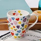 13oz Cute Mugs Colorful Heart Shaped Coffee Mug Cups, Fine Bone China Heart Mug Perfect Birthday Gifts Christmas Mugs for Women Mom Friends Coworker Boss