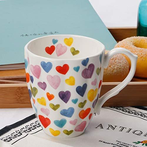 13oz Cute Mugs Colorful Heart Shaped Coffee Mug Cups, Fine Bone China Heart Mug Perfect Birthday...