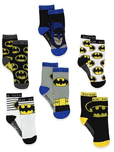 Batman Justice League Boy's 6 pack Athletic Crew Socks (2T-3T, Black/Multi)