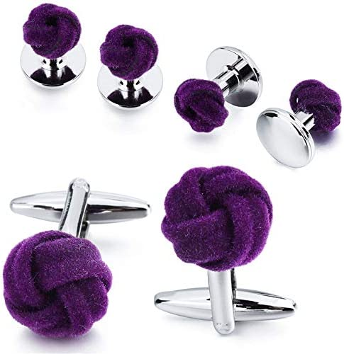 weichuang Men's Tuxedo Shirt Jewelry Cufflink Stud Set Fashion Blue&Purple Silk Knot Cuff Links Button Come with Box (Metal Color : Purple)