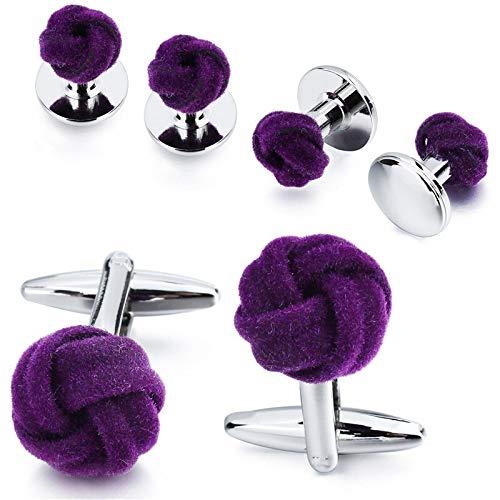 QHKS Mannen smoking Jewelry Cufflink Stud Set Fashion Purple Silk Knot Manchetknopen Button komt met Doos (Metal color : Purple)