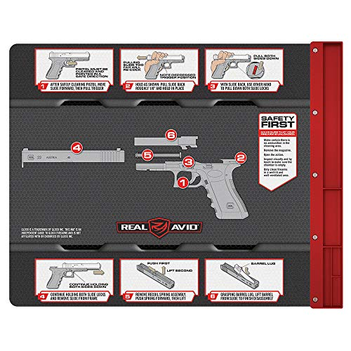 "Real Avid Smart Mat for Glock Handguns Platform: 19x16"" Pistol Cleaning Mat with Disassembly Instructions, Integrated Magnetic Parts Tray, Heavy-Duty, Oil and Solvent-Resistant Protective Gun Mat"