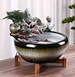 Lazzzgua Zen Indoor Table, Relaxation Tabletop Ornaments Waterfall Fountain Fountain Indoor Tabletop Fountain Electric Pump Soothing Calming and Illuminated Water Sound for Home Décor