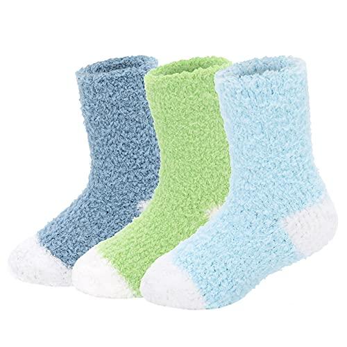 Durio Baby Socken Winter Warme Kuschelsocken Kinder Flauschige Stoppersocken Fleece Socken Thermosocken für Kleinkind Mädchen Jungen 3 Paare B 3-6 Jahre
