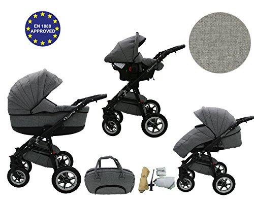 QUERO Lin Matériau - Landau pour bébé + Siège Auto - Poussette - Système 3en1 + Accessoires (Système 3en1, Lin Matériau N ° 2)