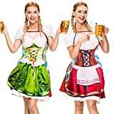 Whaline 2Pcs Oktoberfest Apron, Female Dirndl Costume Outfit, German Oktoberfest Dress, Novelty Apron for Kitchen Cooking BBQ Party (Red, Green)