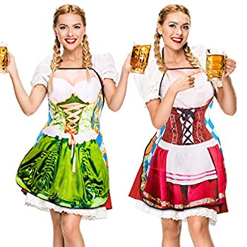Whaline 2Pcs Oktoberfest Apron Female Dirndl Costume Outfit German Oktoberfest Dress Novelty Apron for Kitchen Cooking BBQ Party  Red Green