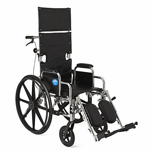 "Medline Reclining Wheelchair, 16"" Wide Seat, Desk Length Arms, Elevating Legrests, Chrome Frame"