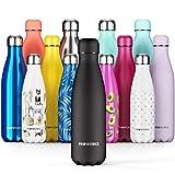 Proworks Edelstahl Trinkflasche | 24 Std. Kalt und 12 Std. Heiß - Premium Vakuum Wasserflasche - Isolierflasche für Sport, Laufen, Fahrrad, Yoga, Wandern und Camping - 1.5 Liter - Ganz Schwarz