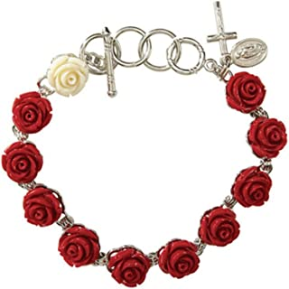 Rose Bead Rosary Bracelet Rose Shaped Beads and Our Lady of Guadalupe Medal