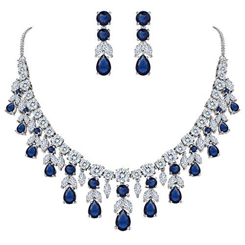 Clearine Donna Parure Gioielli Matrimonio Nuziale Grappolo Foglia lacrima Collana Ciondolano Orecchini Set Blu Colore Argento-Fondo