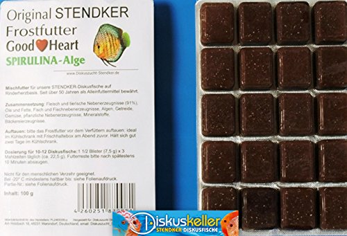 Stendker Frostfutter Sparpaket NEU!! 50 x GoodHeart SPIRULINA Diskusfutter: 100g Blister/für gesunde Diskusfische.
