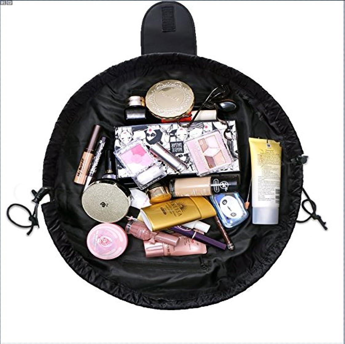 襟数値トランザクション旅行化粧バッグ ファッションお手軽カジュアル巾着旅行防水大容量の化粧バック (ブラック)