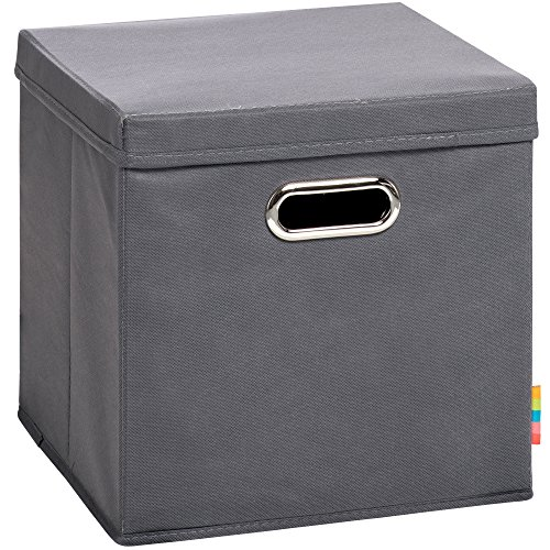 Schmetsdorf (H&S) Aufbewahrungsbox MIA mit Deckel - Faltbox - Korb - 28x28x28 cm - (Anthrazit)