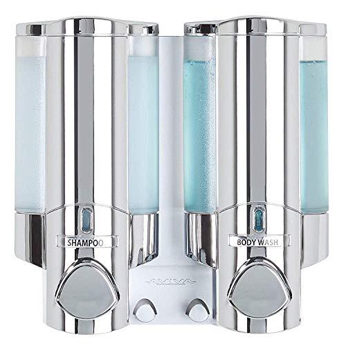 Seifenspender - Hygienespender Aviva II Chrom mit 2 Kammern Wandmontage