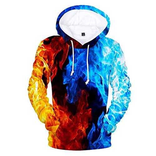 Hooded Casual 3D Printing Hoodies,Ice and Fire Matchup Rood en Blauw Mode Sweatshirts 3D Printing Hoodie Eye-catching Truien met Kangaroo Pockets