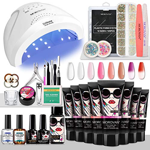 Morovan Poly Nail Gel Kit Builder Gel for Nails with 48W LED UV Nail Lamp Nail Extension Gel 8 Pcs 0.5oz with Slip Solution Nail Prep Dehydrator and Nail Primer Poly Nail Gel Kit Nail Art Supplies
