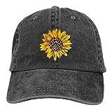 Waldeal Women's Sunflowers Baseball Cap Adjustable Distressed Vintage Summer Floral Dad Hat Black