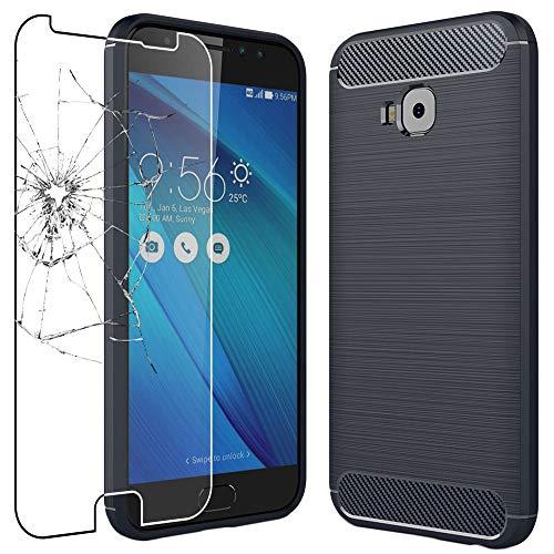 """ebestStar - Cover Compatibile con ASUS Zenfone 4 Selfie PRO ZD552KL Custodia Protezione Silicone Gel Fibra di Carbonio Anti Scivolo, Blu Scuro + Vetro Temperato [Apparecchio: 154x74.8x6.9mm 5.5""""]"""
