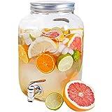 Hogar y Mas Dispensador de Bebidas 4 litros, Tarro de Cristal con Grifo. Dispensador Cristal Bebida Grifo 26x13 cm
