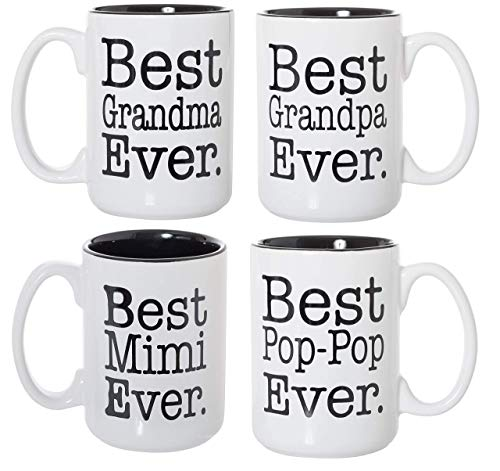 Best Grandma Grandpa Mimi Pop-Pop Ever Black Inlay 15oz Deluxe Double-Sided Coffee Tea Mugs Set