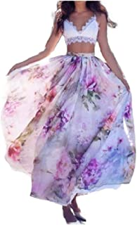 Andopa Women's Casual Loose Bohemian Style Flower Print Long Flyaway Skirt