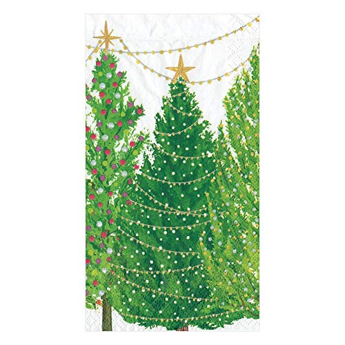 Caspari Christmas Trees with Lights Paper Guest Towel Napkins - Two Packs of 15