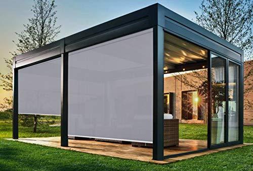 EB ESTORES BARATOS Persiana Enrollable Exterior Tecnoscreen/Bloqueo UV 70% / Microperforado (no Hace Efecto Vela). Medidas Ancho x Alto. Color: Perla. Medidas: 80cm x 120cm