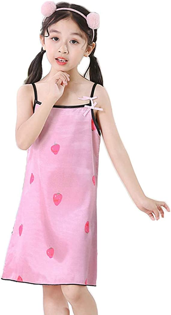 Girl's Camisole Summer Dress Bamboo Spaghetti Strap Nightgowns (Pink1 2-3Y)