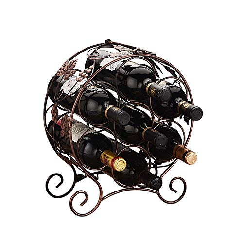 WDS-SS Creativity Wine Rack Tier Stackable Wine Rack for Bottles - Perfect for Bar Wine Cellar Basement Cabinet Pantry Etc - Hold 7 Bottles Metal for Home Portable Wine Rack (Color : Black, Size : 3