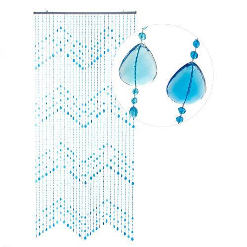 HAB & GUT -DV0183- Deurgordijn Weelderig, blauw lichtblauw 90x200 Bead gordijn