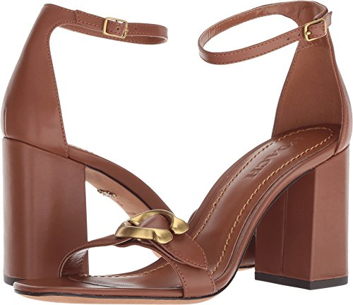 COACH Maya 85mm Sandal with Signature Buckle Lion Leather 9 M