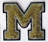 Gold and Silver Sequin Letter 3' inch Iron-on Patch Appliqué Sewing Alphabet Letter (A-Z) (M)