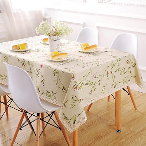 XQSSB Mantel Mesa Rectangular Algodón y Lino Ligero para Comedor Cocina o Salón Beige 140 × 140cm