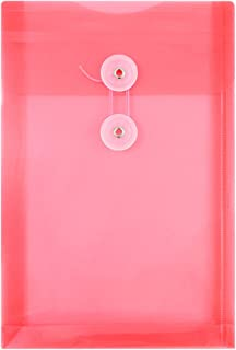 JAM PAPER Plastic Envelopes with Button & String Tie Closure - 6 1/4 x 9 1/4 - Red - 12/Pack